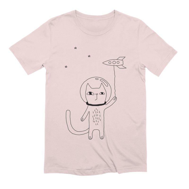 Space Cat Men's Extra Soft T-Shirt by Ekaterina Zimodro's Artist Shop