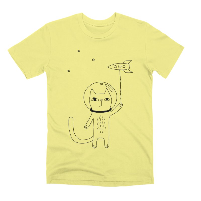 Space Cat Men's Premium T-Shirt by PENARULIT illustration