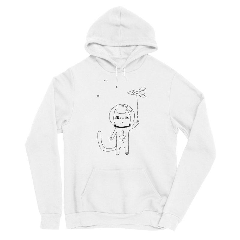 Space Cat Men's Sponge Fleece Pullover Hoody by PENARULIT illustration