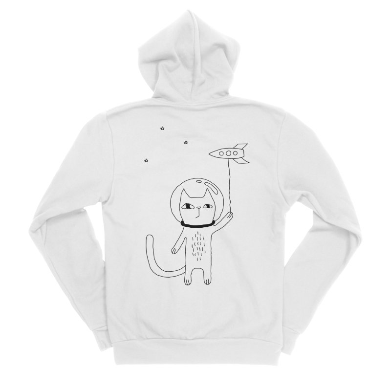 Space Cat Women's Sponge Fleece Zip-Up Hoody by PENARULIT illustration