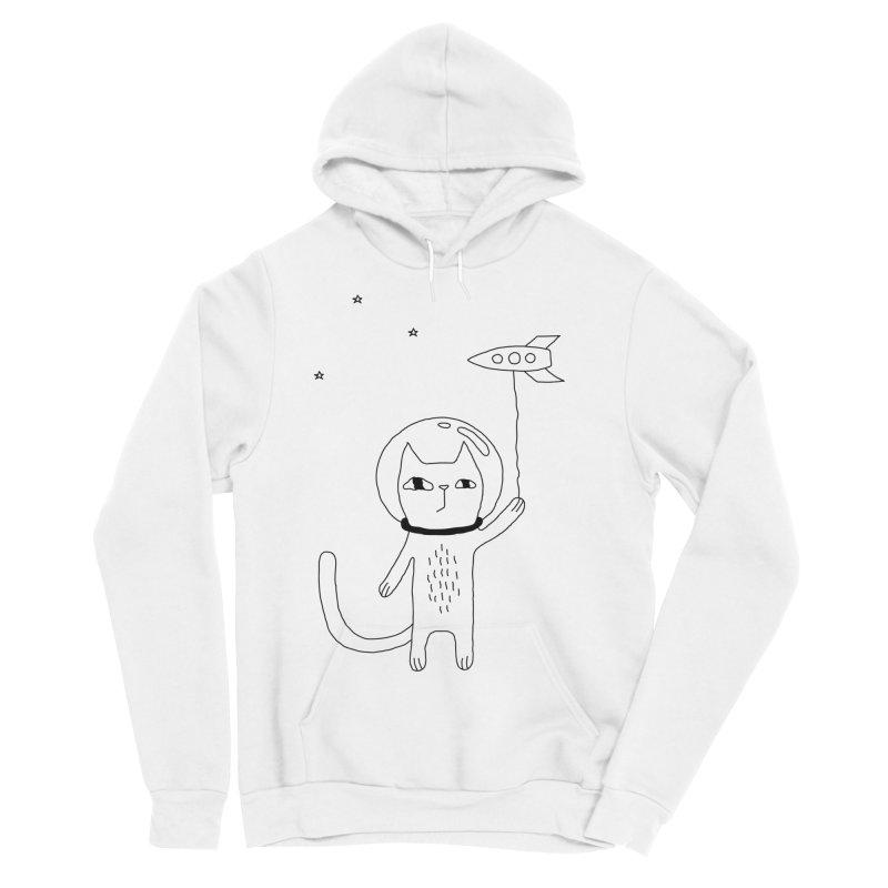 Space Cat Men's Sponge Fleece Pullover Hoody by PENARULIT's Artist Shop
