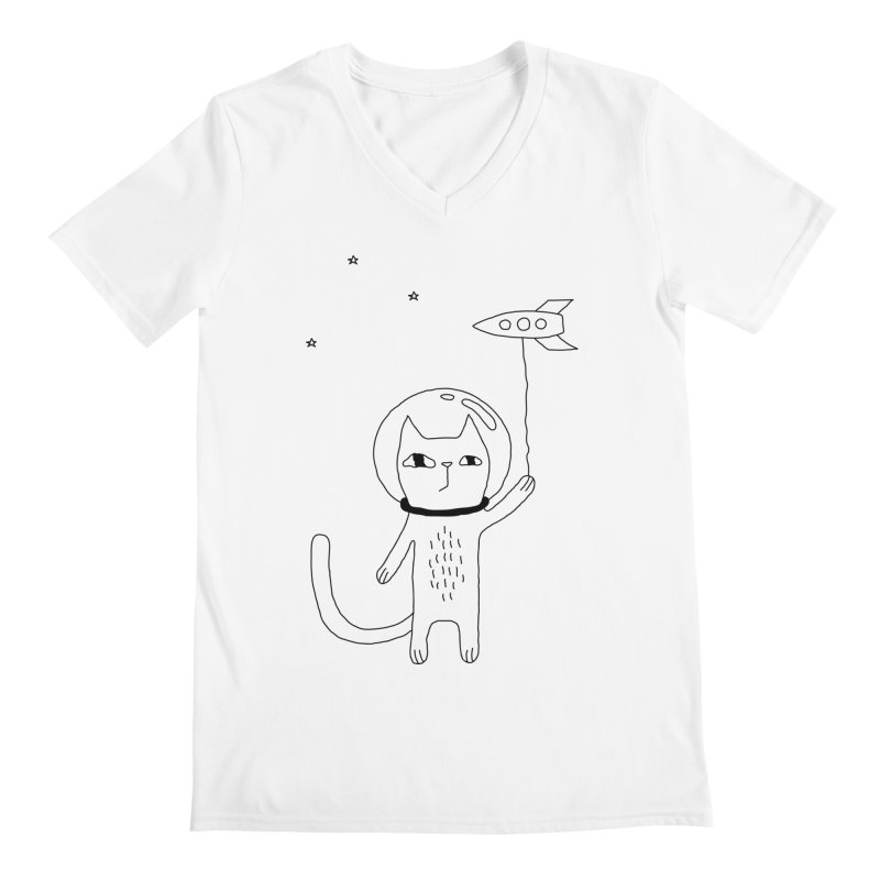 Space Cat Men's V-Neck by PENARULIT's Artist Shop