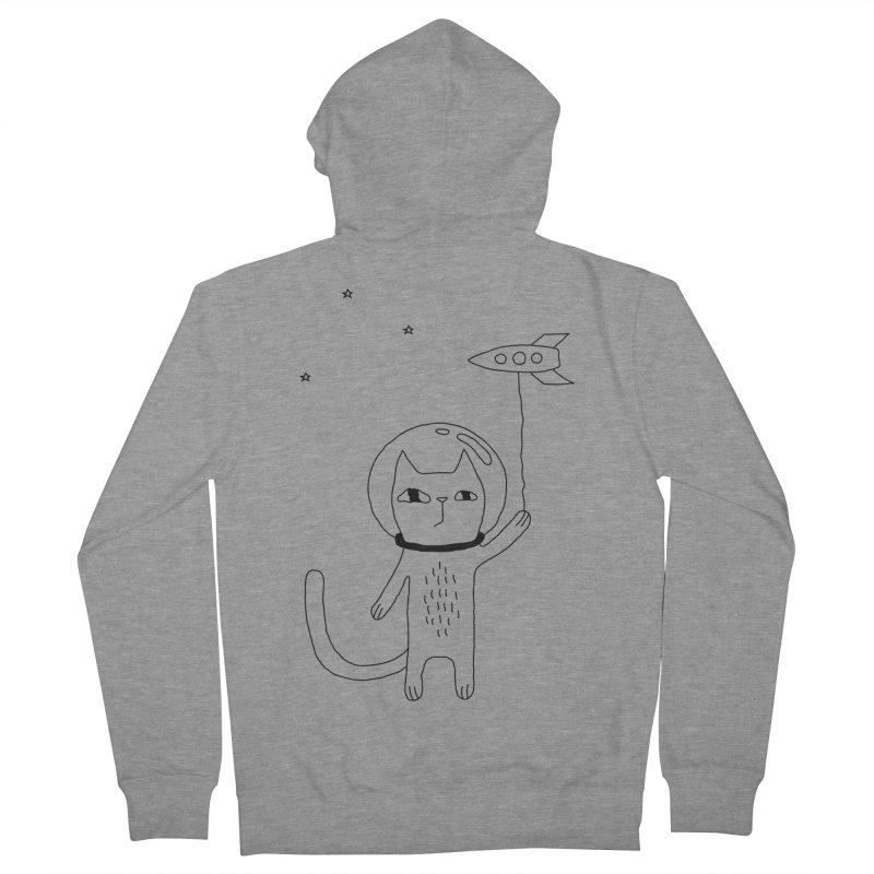 Space Cat Men's French Terry Zip-Up Hoody by PENARULIT's Artist Shop