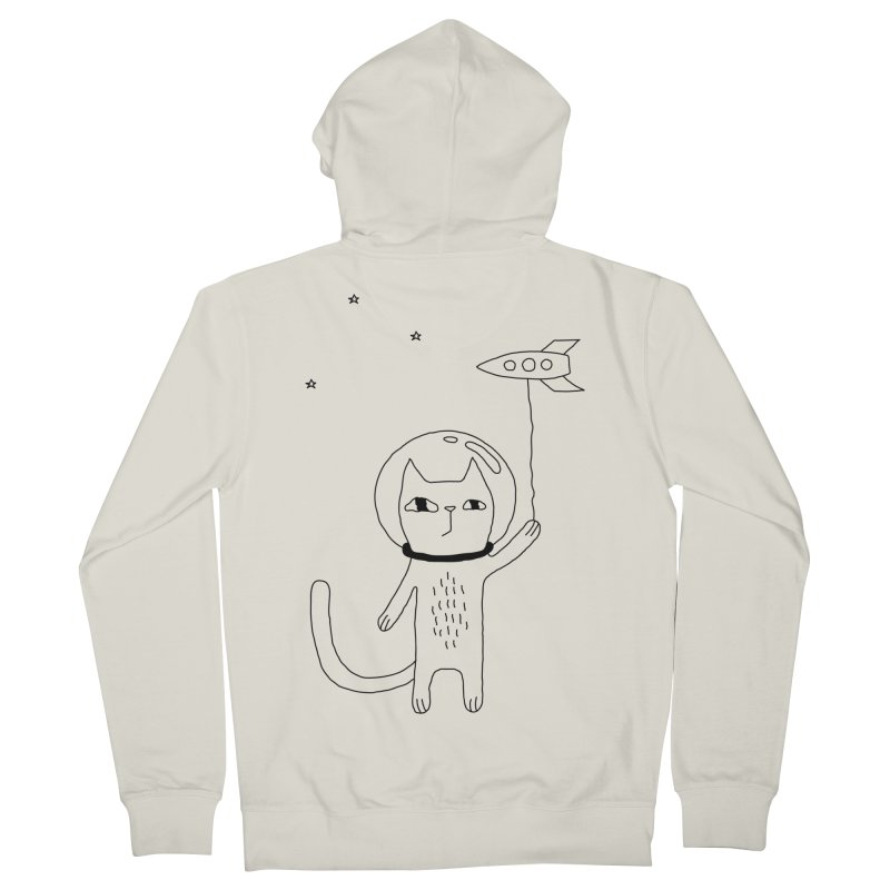 Space Cat Men's French Terry Zip-Up Hoody by PENARULIT's Artist Shop