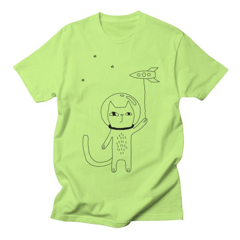 Space Cat Men's Regular T-Shirt by Ekaterina Zimodro's Artist Shop