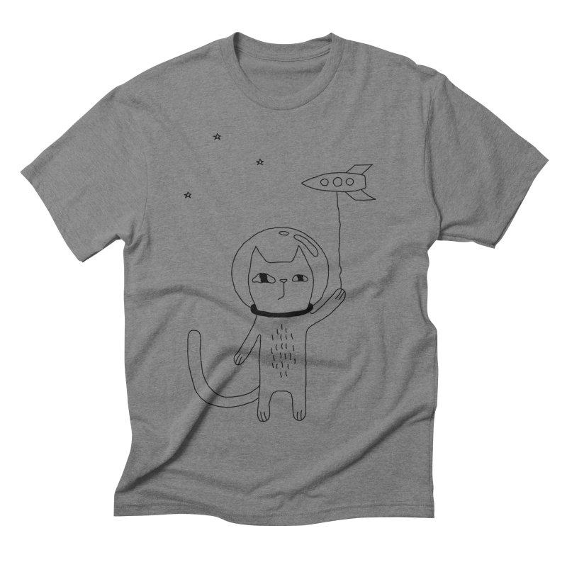 Space Cat Men's Triblend T-Shirt by PENARULIT's Artist Shop