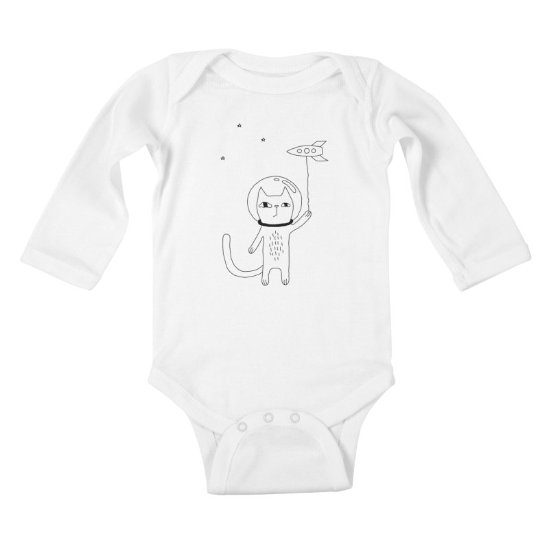Space Cat Kids Baby Longsleeve Bodysuit by PENARULIT's Artist Shop