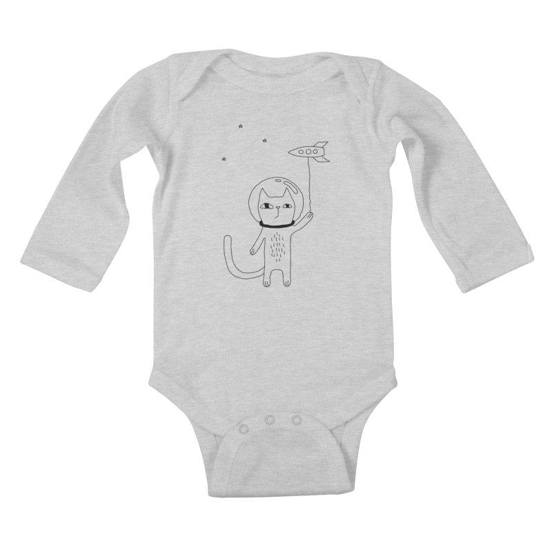 Space Cat Kids Baby Longsleeve Bodysuit by Ekaterina Zimodro's Artist Shop