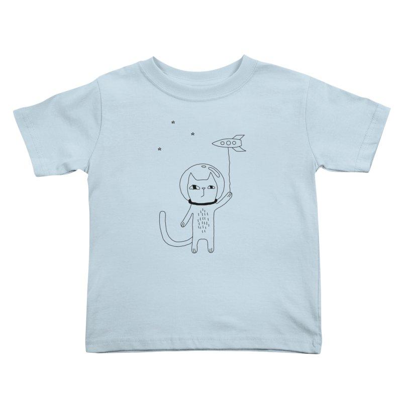 Space Cat Kids Toddler T-Shirt by Ekaterina Zimodro's Artist Shop
