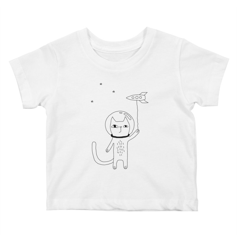 Space Cat Kids Baby T-Shirt by PENARULIT illustration