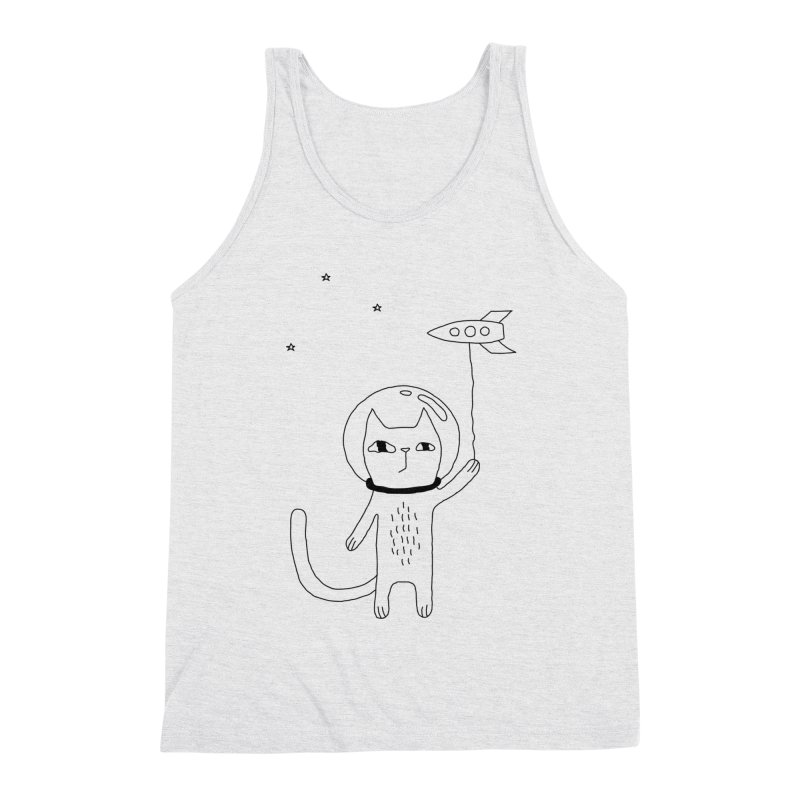 Space Cat Men's Triblend Tank by PENARULIT illustration