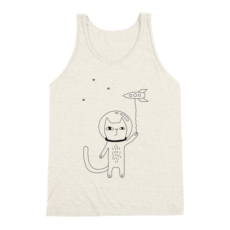 Space Cat Men's Triblend Tank by PENARULIT illustration
