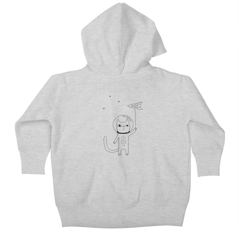 Space Cat Kids Baby Zip-Up Hoody by PENARULIT illustration