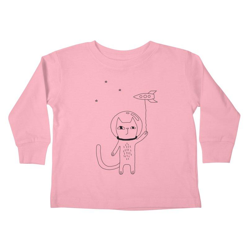Space Cat Kids Toddler Longsleeve T-Shirt by Ekaterina Zimodro's Artist Shop