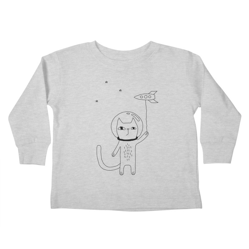 Space Cat Kids Toddler Longsleeve T-Shirt by PENARULIT illustration