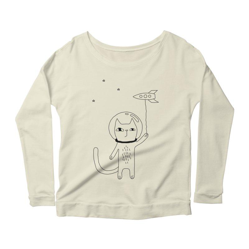 Space Cat Women's Scoop Neck Longsleeve T-Shirt by PENARULIT's Artist Shop