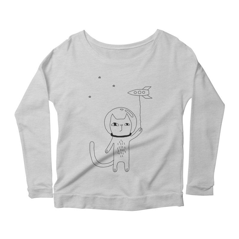 Space Cat Women's Scoop Neck Longsleeve T-Shirt by PENARULIT illustration