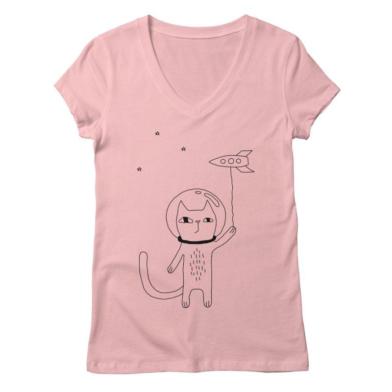 Space Cat Women's Regular V-Neck by PENARULIT illustration