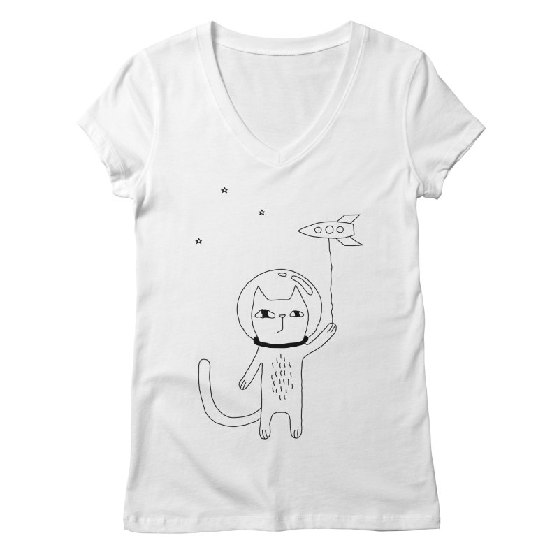 Space Cat Women's Regular V-Neck by PENARULIT's Artist Shop