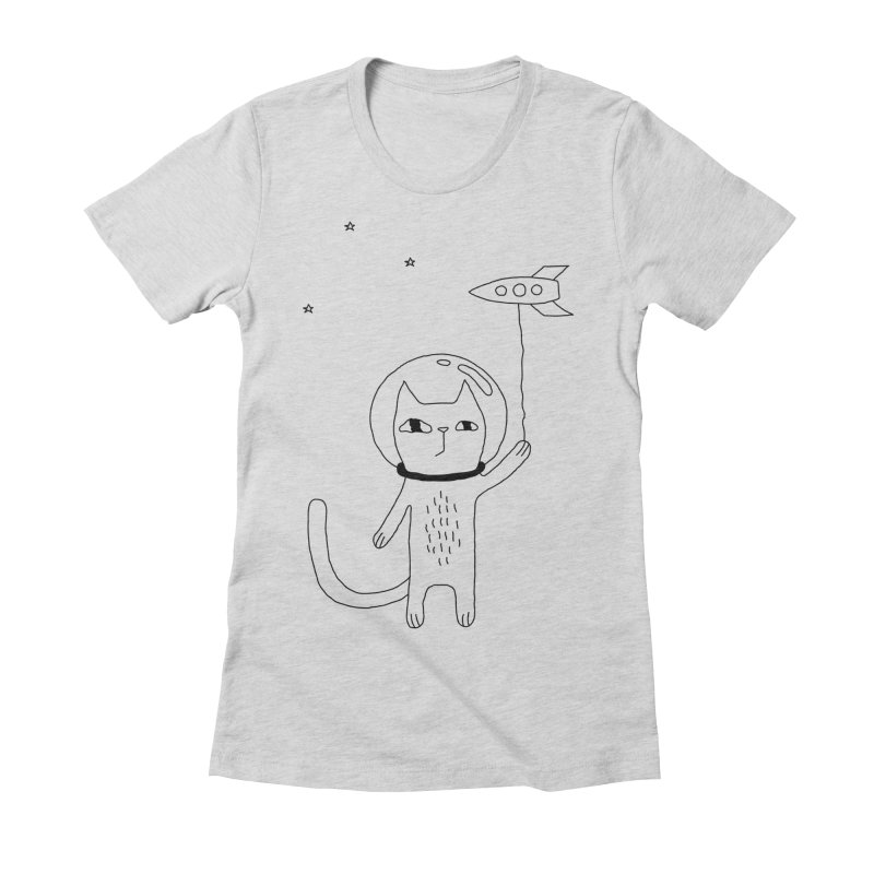 Space Cat Women's Fitted T-Shirt by PENARULIT illustration