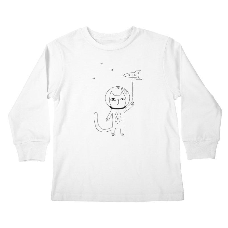 Space Cat Kids Longsleeve T-Shirt by PENARULIT's Artist Shop