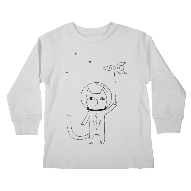 Space Cat Kids Longsleeve T-Shirt by Ekaterina Zimodro's Artist Shop