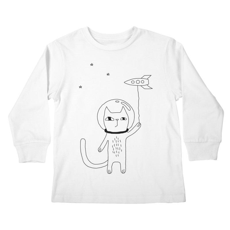 Space Cat Kids Longsleeve T-Shirt by PENARULIT illustration