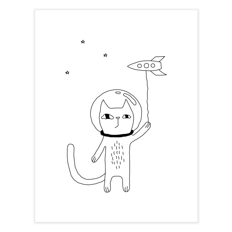 Space Cat Home Fine Art Print by Ekaterina Zimodro's Artist Shop