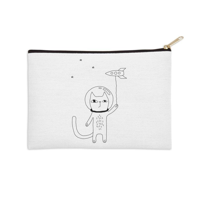 Space Cat Accessories Zip Pouch by Ekaterina Zimodro's Artist Shop