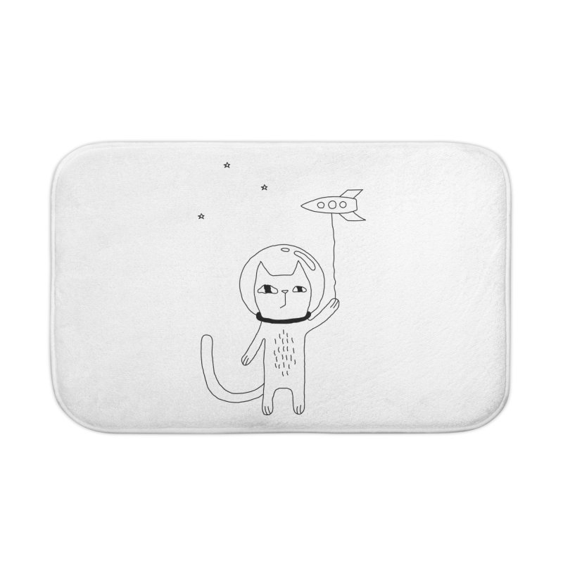Space Cat Home Bath Mat by PENARULIT illustration