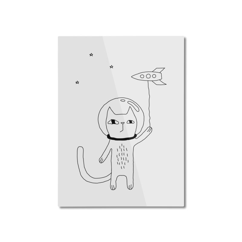Space Cat Home Mounted Aluminum Print by PENARULIT illustration