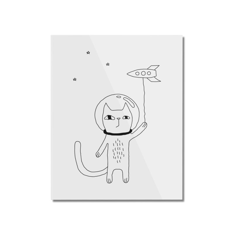 Space Cat Home Mounted Acrylic Print by PENARULIT illustration