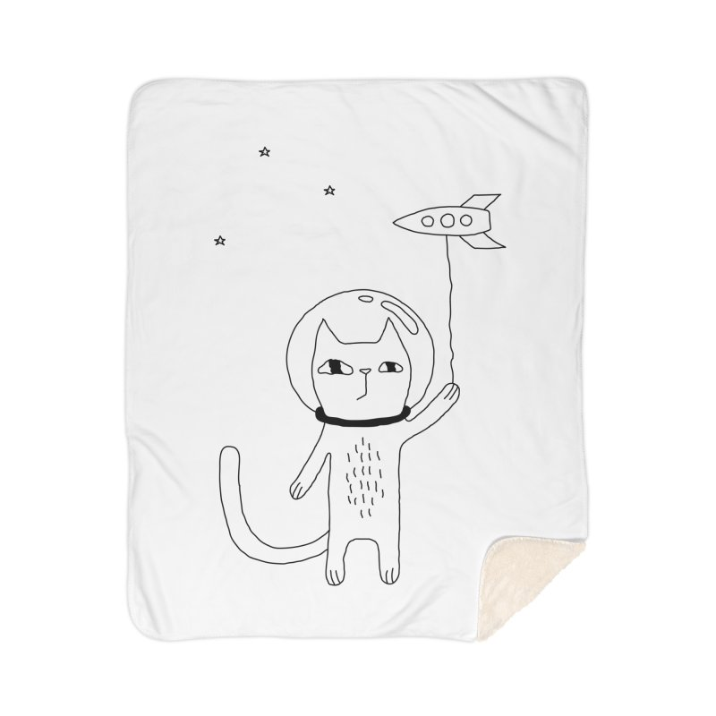Space Cat Home Sherpa Blanket Blanket by PENARULIT illustration