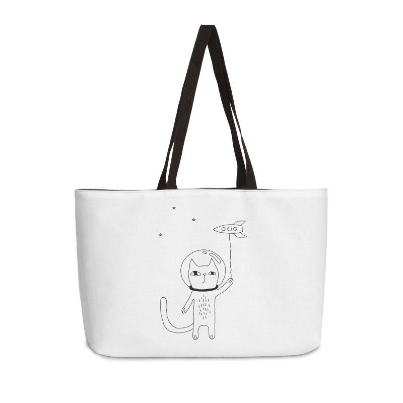 Space Cat Accessories Weekender Bag Bag by PENARULIT illustration