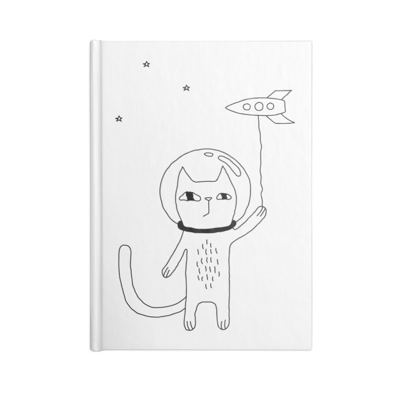 Space Cat Accessories Blank Journal Notebook by PENARULIT illustration