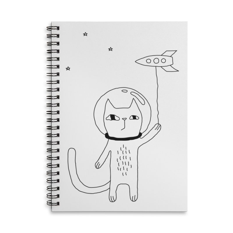 Space Cat Accessories Lined Spiral Notebook by PENARULIT illustration