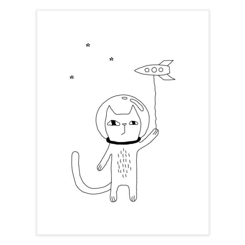 Space Cat Home Fine Art Print by Ekaterina Zimodro's Artist Shop