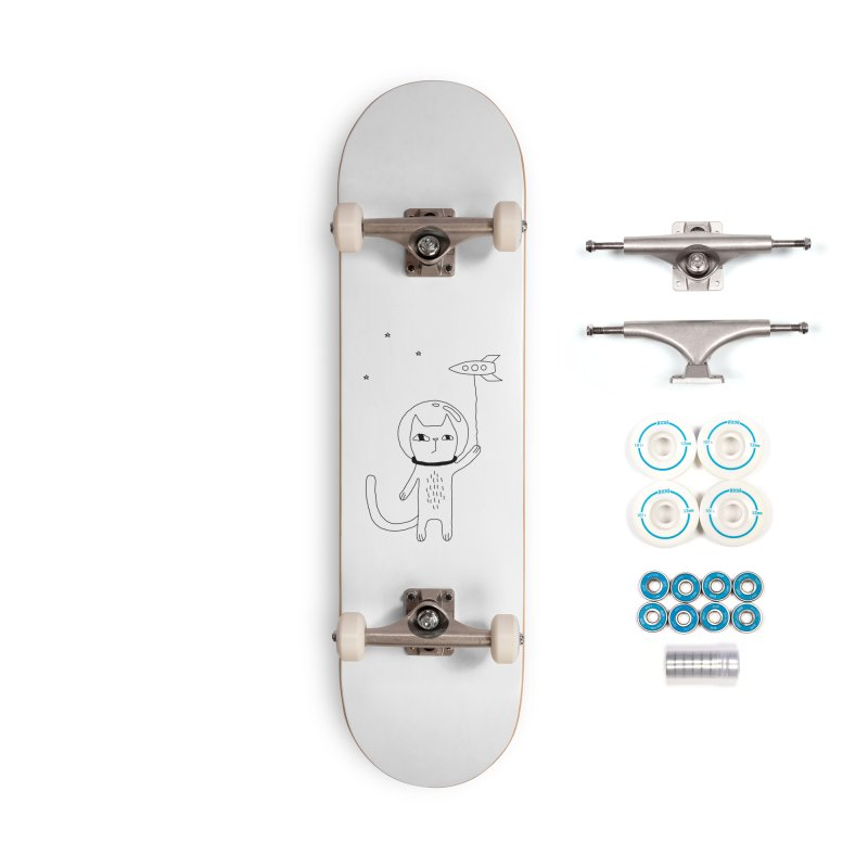 Space Cat Accessories Complete - Basic Skateboard by PENARULIT illustration