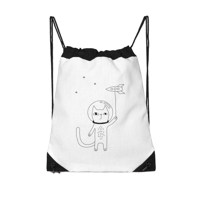 Space Cat Accessories Drawstring Bag Bag by PENARULIT illustration