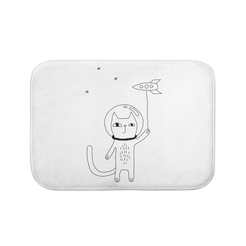 Space Cat Home Bath Mat by Ekaterina Zimodro's Artist Shop