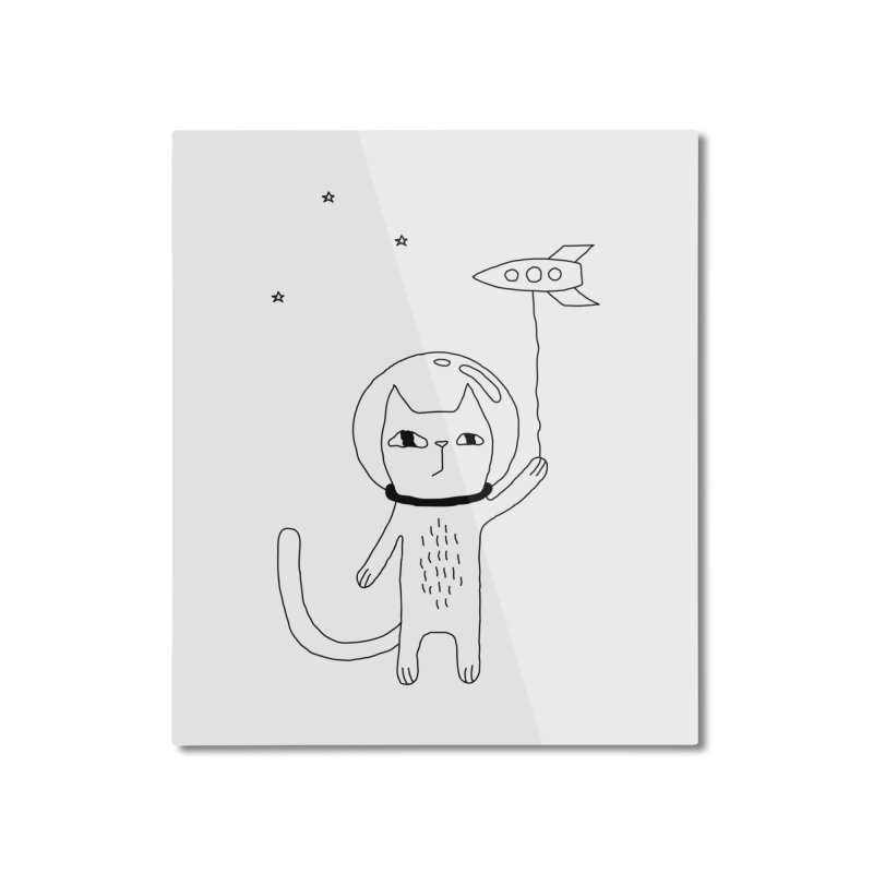 Space Cat Home Mounted Aluminum Print by PENARULIT's Artist Shop