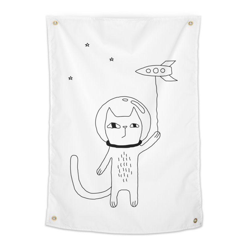 Space Cat Home Tapestry by Ekaterina Zimodro's Artist Shop