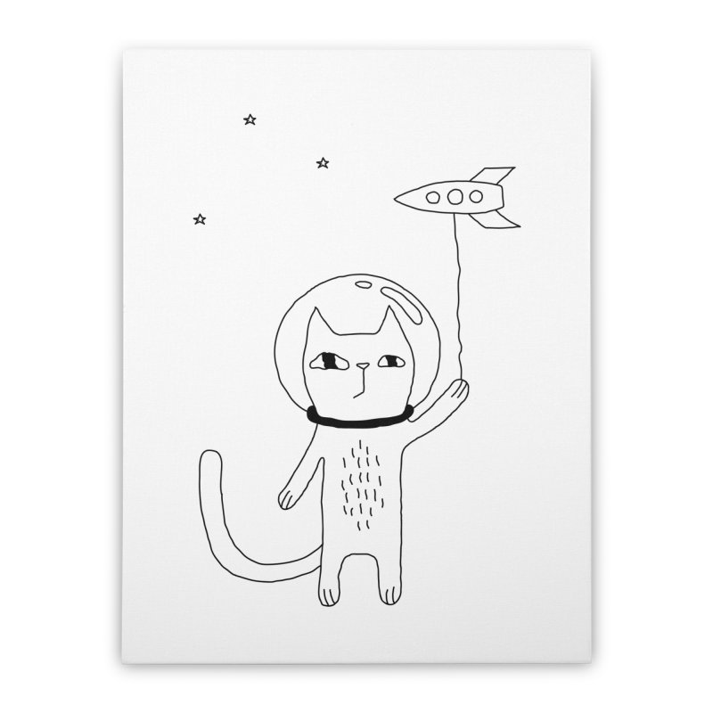 Space Cat Home Stretched Canvas by PENARULIT illustration