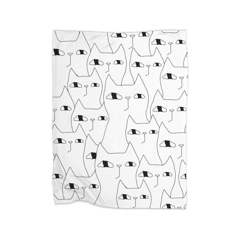 Cat Invasion Home Fleece Blanket Blanket by PENARULIT illustration