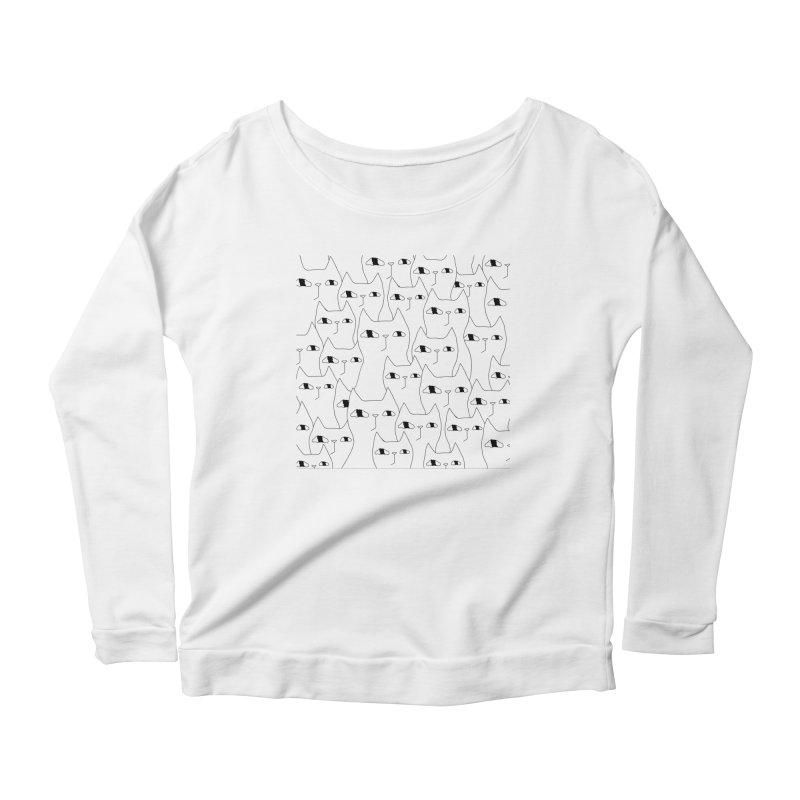 Cat Invasion Women's Scoop Neck Longsleeve T-Shirt by PENARULIT's Artist Shop