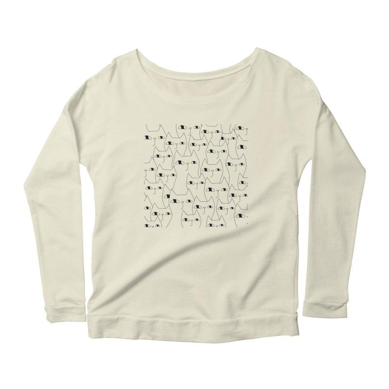 Cat Invasion Women's Scoop Neck Longsleeve T-Shirt by Ekaterina Zimodro's Artist Shop