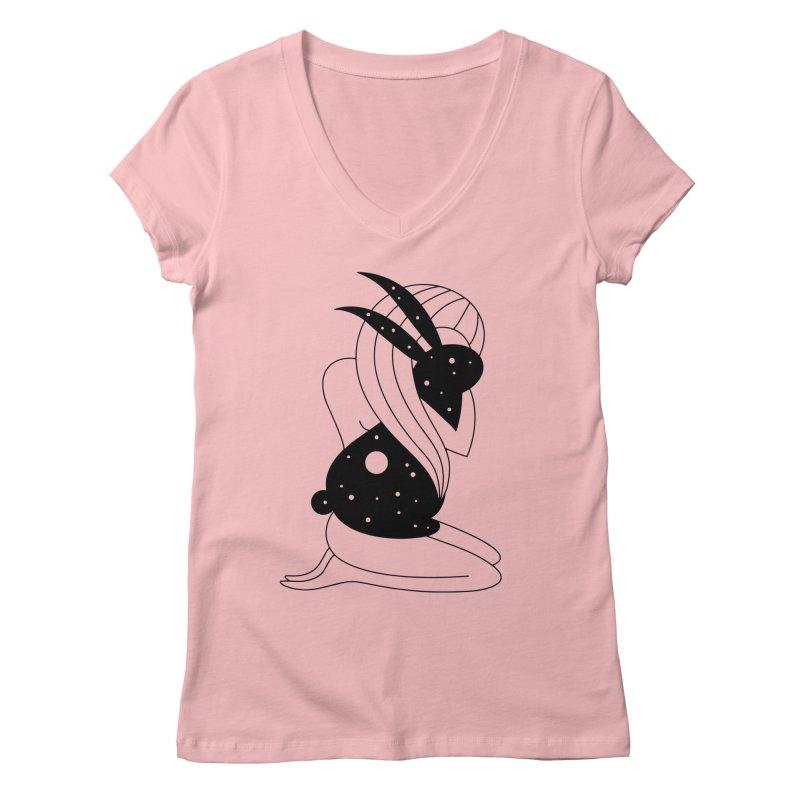 Follow The White Rabbit Women's V-Neck by PENARULIT illustration