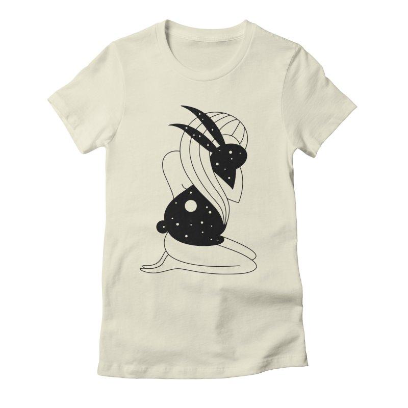Follow The White Rabbit Women's Fitted T-Shirt by Ekaterina Zimodro's Artist Shop