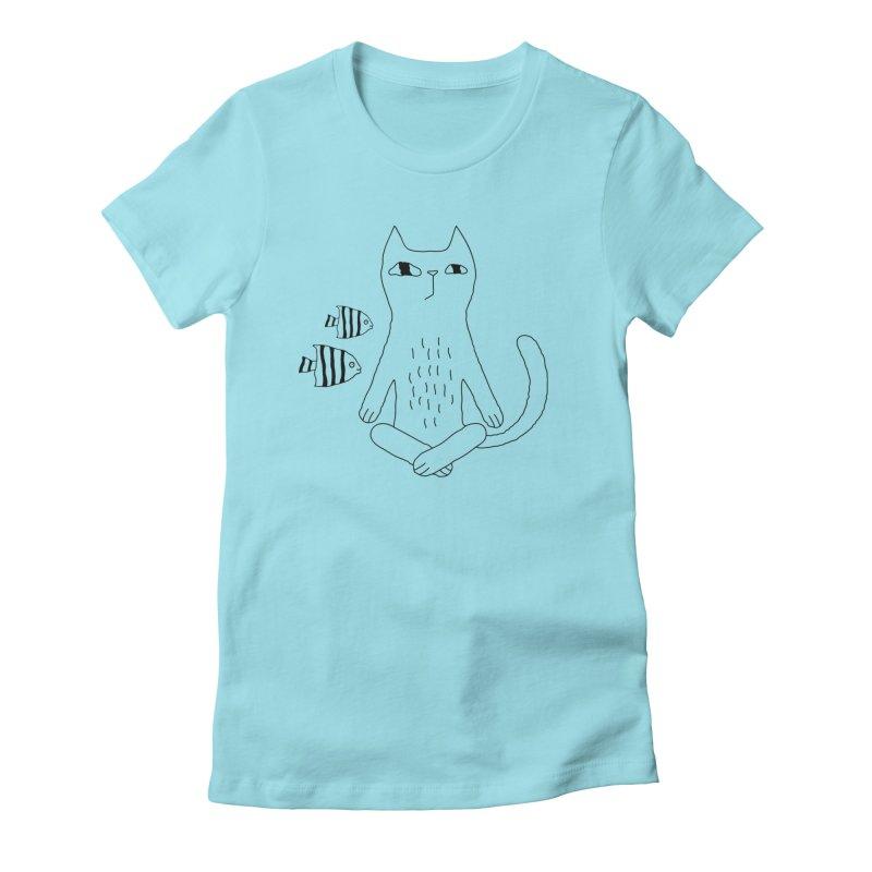 Catvana Women's Fitted T-Shirt by Ekaterina Zimodro's Artist Shop