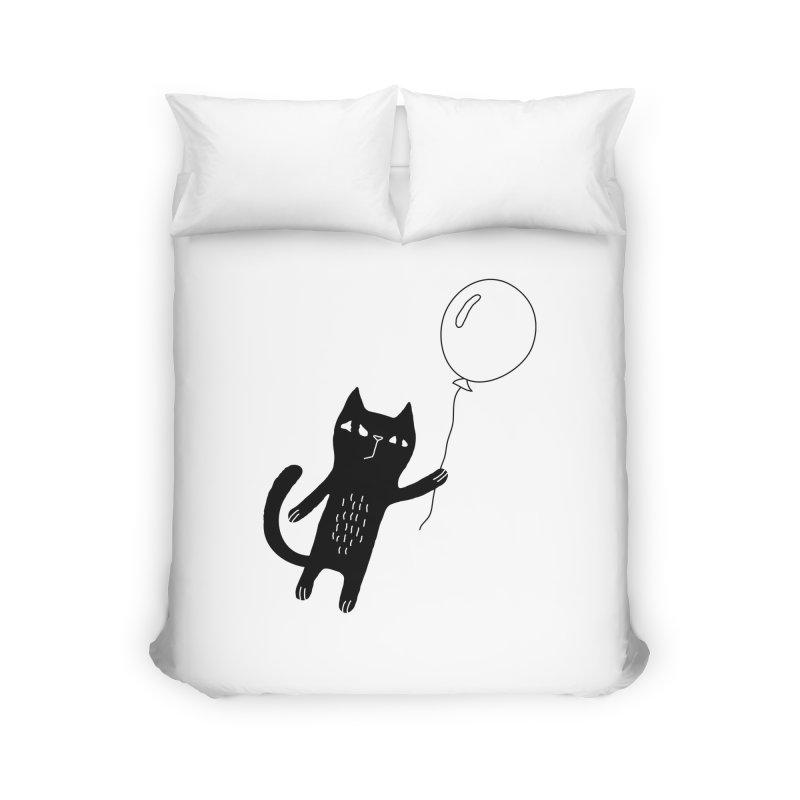 Flying Cat Home Duvet by PENARULIT illustration